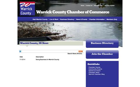 Screenshot of Press Page warrickchamber.org - Warrick County, IN News - Warrick County | Warrick County Chamber of Commerce | Boonville, IN - captured Feb. 17, 2016