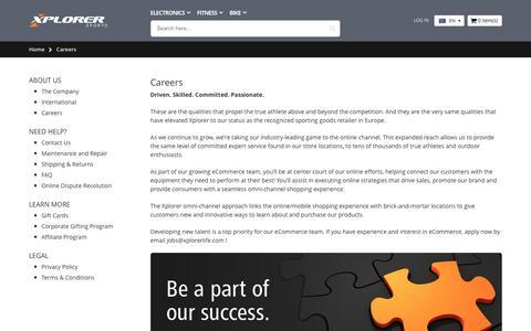 Screenshot of Jobs Page xplorerlife.com - Careers - captured July 11, 2017