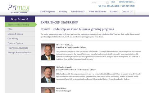 Screenshot of Team Page primax.us - Experienced Leadership | Primax - captured July 21, 2018