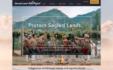 Screenshot of Home Page sacredland.org - Sacred Land – Indigenous worldviews, values and sacred places strengthen the earth's biological and cultural diversity - captured Oct. 4, 2017