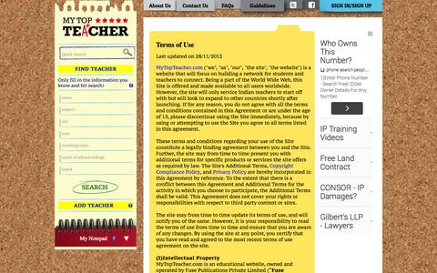 Screenshot of Terms Page mytopteacher.com - Terms of Use, Rules and Regulations |MyTopTeacher - captured Oct. 7, 2014