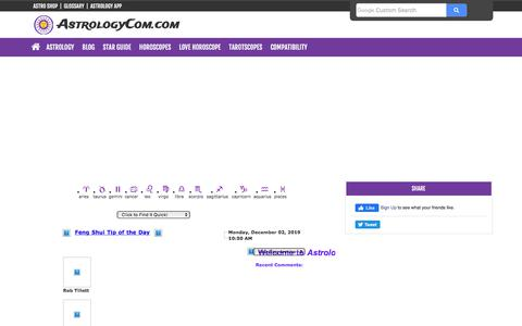 Screenshot of Blog astrologycom.com - News & Updates Blog: Astrology & Horoscopes by Astrology on the Web - captured Dec. 2, 2019