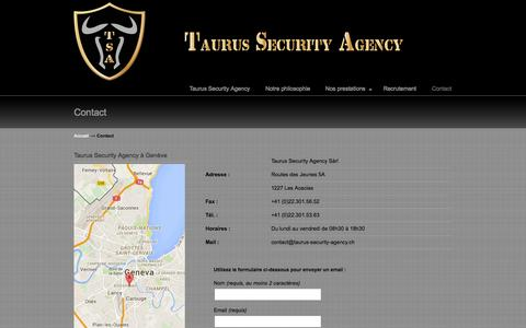 Screenshot of Contact Page taurus-security-agency.ch - Contact- Taurus Security Agency- Entreprise de sécurité à Genève Taurus Security Agency - captured Oct. 26, 2014