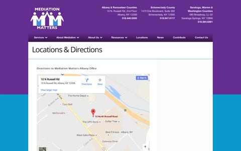 Screenshot of Locations Page mediationmatters.org - Locations & Directions - Mediation Matters - captured Nov. 28, 2016