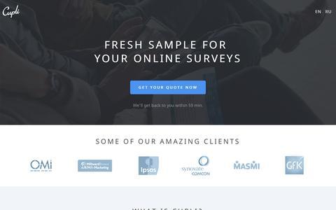 Screenshot of Home Page cup.li - Recruit Respondents for Online Surveys | Cupli Surveys - captured Jan. 23, 2016