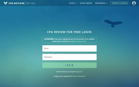 Screenshot of FAQ Page Login Page cpareviewforfree.com - CPA Review for Free | Login - captured Nov. 4, 2018