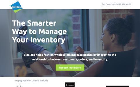 Screenshot of Landing Page bizslate.com - BizSlate Inventory & Order Management Software - captured July 13, 2016