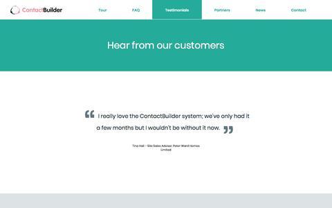 Screenshot of Testimonials Page contact-builder.co.uk - Testimonials | ContactBuilder - captured Aug. 27, 2017
