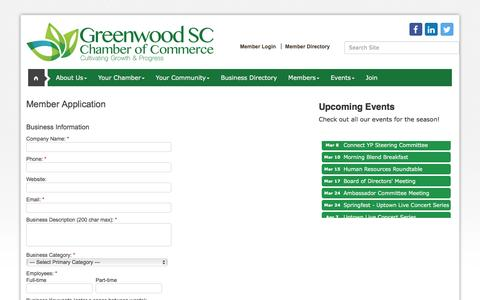 Screenshot of Signup Page greenwoodscchamber.org - Member - Greenwood Area Chamber of Commerce, SC - captured Feb. 2, 2016