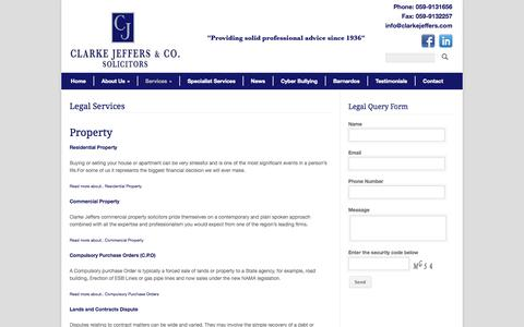 Screenshot of Services Page carlowsolicitors.com - Clarke Jeffers Solicitors Legal Services » Clarke Jeffers Solicitors - captured Oct. 2, 2014