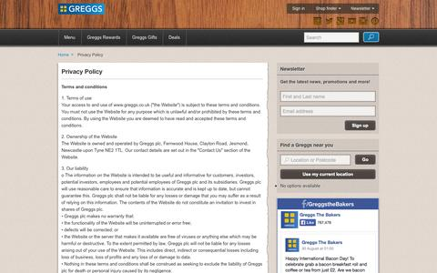 Screenshot of Privacy Page greggs.co.uk - Privacy Policy | Greggs - captured Sept. 19, 2014