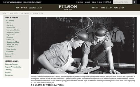 Screenshot of Jobs Page filson.com - Careers at Filson | Filson - captured Jan. 8, 2016
