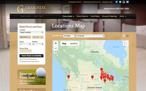 Screenshot of Locations Page grandstayhospitality.com - Locations Map :: GrandStay® Hospitality, LLC - captured Sept. 25, 2018