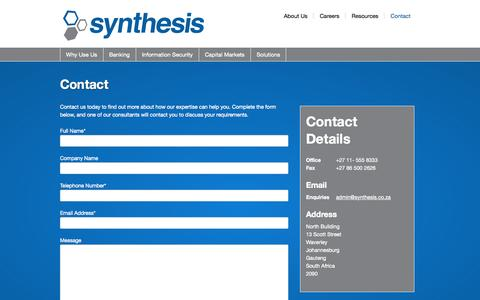 Screenshot of Contact Page synthesis.co.za - Contact - Synthesis - captured Oct. 7, 2014