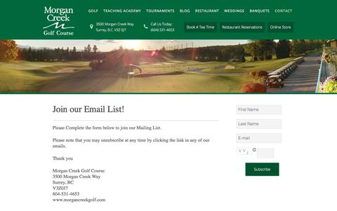 Screenshot of Signup Page morgancreekgolf.com - Join Our Email List! - captured Oct. 28, 2017