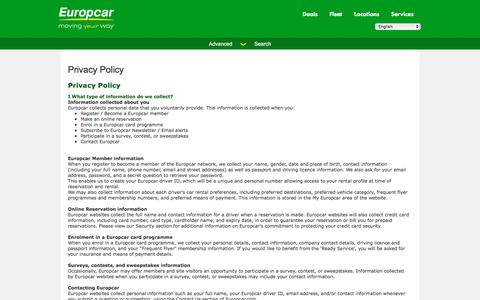 Screenshot of Privacy Page europcar.com.pl - Privacy Policy - captured April 15, 2018