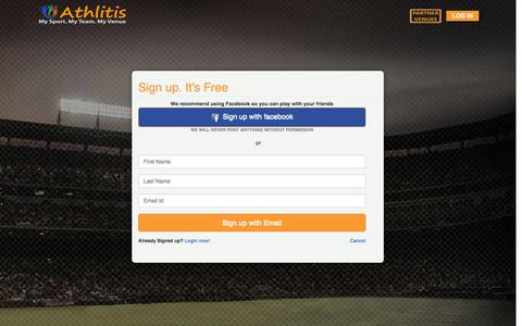 Screenshot of Signup Page athlitis.net - ATHLITIS - Book Sports venues, Sports matches, Sports workshops, Sports Tournaments - captured Sept. 30, 2014