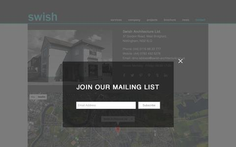 Screenshot of Contact Page swish-architecture.co.uk - Contact | Nottingham, UK | Swish Architecture Ltd - captured Oct. 20, 2018