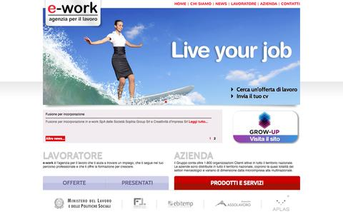 Screenshot of Home Page e-work.it - homepage - e-work S.p.A. - captured Oct. 3, 2014
