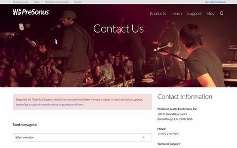 Screenshot of Contact Page presonus.com - Contact Us | PreSonus - captured June 28, 2017