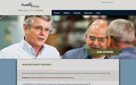 Screenshot of Case Studies Page franklinenergy.com - Case Studies | Franklin Energy - captured Feb. 10, 2016