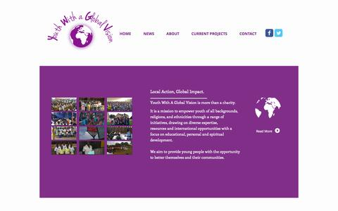 Screenshot of Home Page youthwithaglobalvision.org - Youth With A Global Vision - captured Sept. 30, 2014