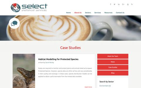 Screenshot of Case Studies Page select-statistics.co.uk - Case Studies - Select Statistical Consultants - captured Oct. 1, 2018