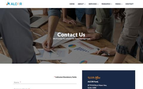 Screenshot of Contact Page alcorfund.com - Contact - Alcor Fund Pvt Ltd - captured July 28, 2018