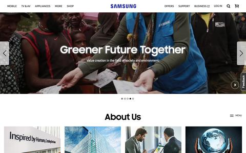 Screenshot of About Page samsung.com - About Us | Samsung CA - captured Oct. 19, 2018