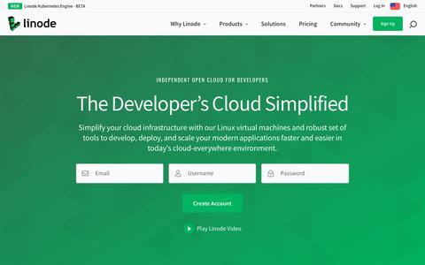 Screenshot of Home Page linode.com - Cloud Hosting & Linux Servers | Linode - captured Oct. 10, 2019