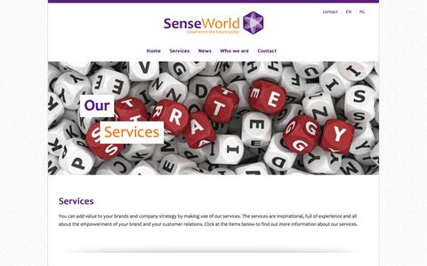 Screenshot of Services Page senseworld.com - SenseWorld | Customer experience, experience technologies and vital business models. - captured Oct. 3, 2014