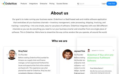 Screenshot of About Page orderhive.com - About Orderhive - captured Feb. 18, 2019