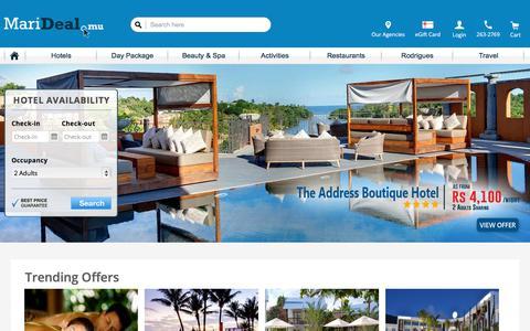 Screenshot of Home Page marideal.mu - MariDeal.mu   Best Deals in Mauritius - captured Sept. 23, 2018