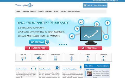 Screenshot of Home Page transcriptionstar.com - Transcription Services | Video | Audio | Interview- TranscriptionStar - captured Sept. 22, 2014