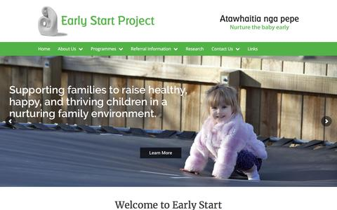 Screenshot of Home Page earlystart.co.nz - Early Start Project, Family Support Service Christchurch - captured Sept. 26, 2018