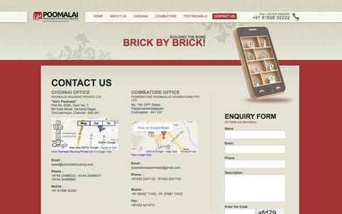 Screenshot of Contact Page poomalaihousing.com - Poomalai Housing Private Limited - Contact Us - captured Oct. 2, 2014