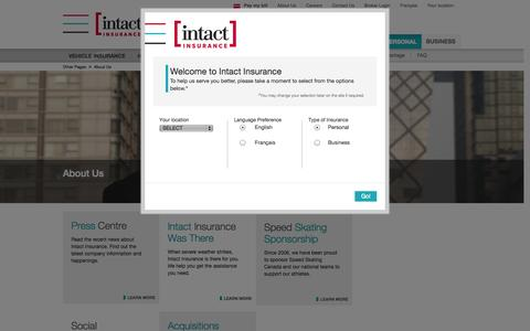 Screenshot of About Page intact.ca - About Us | Intact Insurance - captured Nov. 2, 2014
