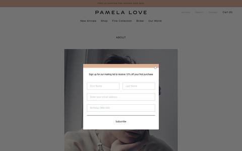 Screenshot of About Page pamelalove.com - About – Pamela Love - captured Nov. 8, 2019