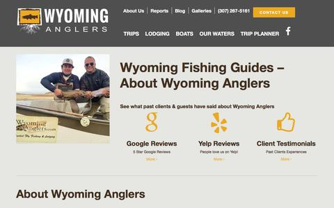 Screenshot of About Page wyominganglers.com - Wyoming Fishing Guides - Wyoming Anglers Fly Fishing - captured Feb. 26, 2016