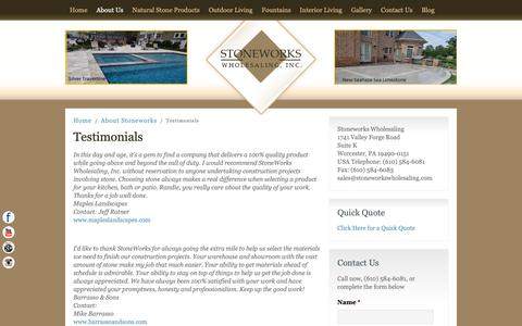 Screenshot of Testimonials Page stoneworkswholesaling.com - Natural Stone Tile in Delaware County, Swarthmore, and Malvern - captured Oct. 19, 2018