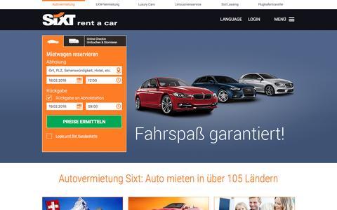 Screenshot of Home Page sixt.ch - Sixt Autovermietung   Mietwagen, Auto mieten, Rent a Car - captured Feb. 16, 2016