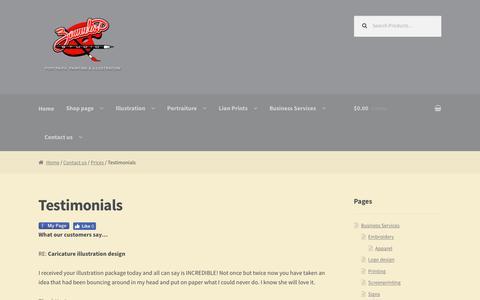 Screenshot of Testimonials Page zamudiosartstudio.com - Testimonials of David Zamudio | Zamudios Studio Illustration - captured Jan. 13, 2017
