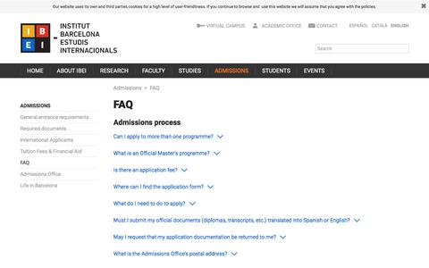Screenshot of FAQ Page ibei.org - FAQ | Institut Barcelona d'Estudis Internacionals (IBEI) - captured Sept. 26, 2018