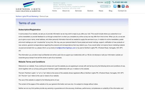 Screenshot of Terms Page northernlightspr.com - Terms of use | Northern Lights PR and Marketing - captured Oct. 26, 2014