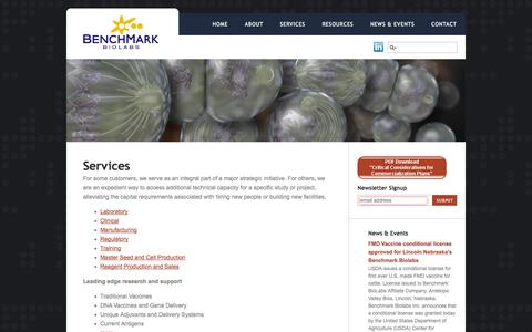 Screenshot of Services Page benchmarkbiolabs.com - Services | Benchmark Biolabs - captured Sept. 30, 2014