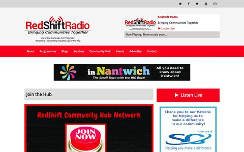 Screenshot of Signup Page redshiftradio.co.uk - RedShift Radio | Join the Hub - captured Feb. 26, 2016