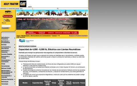 Screenshot of Landing Page kellytractor.com - Montacargas Doosan con Capacidad de 4,000 - 6,500 lb, Eléctrico con Llantas Neumáticas - captured Aug. 12, 2016