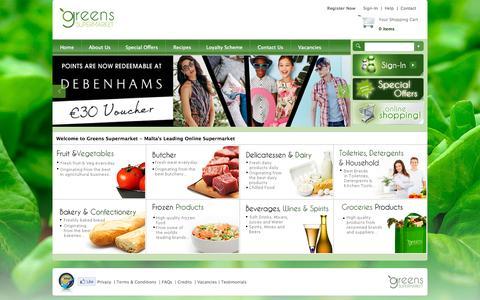 Screenshot of Home Page greens.com.mt - Greens Supermarket - captured Sept. 17, 2015