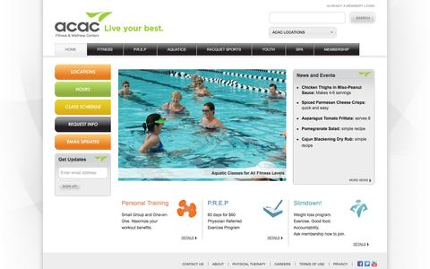 Screenshot of Home Page Locations Page Hours Page acac.com - Fitness and Wellness Centers -- Charlottesville, Richmond, West Chester | ACAC - captured Sept. 19, 2014