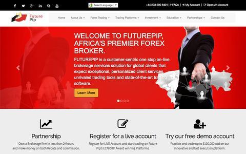 Screenshot of Home Page futurepip.net - Futurepip Forex Broker - captured Sept. 11, 2015